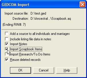 AQ 11 GEDCOM Import dialog box