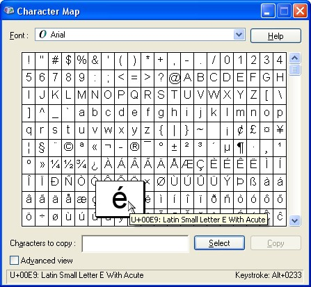 Windows' Character Map