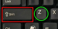 Shift and z keys