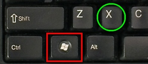 Windows logo and x keys