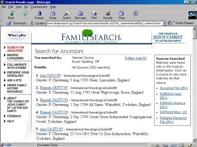 Screenshot of FamilySearch Results